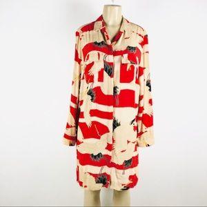 Topshop Crane Bird Print Shirt Dress Size 6. 000